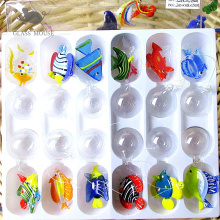 12pcs hot handmade Murano glass OCEAN FISH small statue home aquarium decorative pendant float glass animals miniature figurines