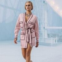 Cardigan oversize rosa da donna Runway 2021 maglione lavorato a maglia con scollo a V primavera di lusso avvolgere Cardigan lungo soprabito femminile