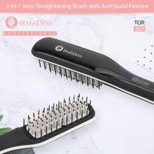 Hair Diva 2 in 1 Ionic Straightening Brush With Anti Scald Ceramic LCD Straightener Hot Comb In Black