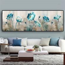 Abstracto azul flores pintura da lona cartazes e impressões cuadros arte da parede fotos para sala de estar decoração casa
