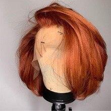 Имбирь оранжево-Мятно-зеленого цвета, Цветной Боба парик T фронта шнурка человеческих волос парики предварительно выщипанные волосы с детс...