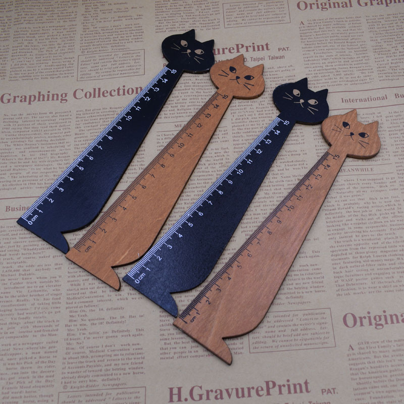 1PC Wood Straight Ruler 15 Cm Wood Black Brown Color Lovely Cat Shape Rulers Kids Gift School Supplies
