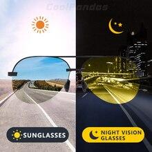 Gafas de sol polarizadas fotocromáticas para hombre, gafas de sol de conducción de seguridad, visión nocturna, de día, marca de aviación