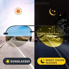 Marca aviação segurança condução photochromic polarizado óculos de sol dia visão noturna condução óculos de sol masculino
