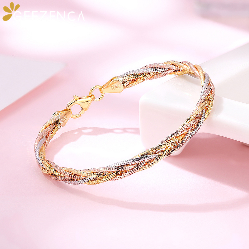 Italian Jewelry Handmade Weave Bracelet S925 Silver Gold Plated Three Color Five Thread Bracelets Bangle Fine Jewel Women Gift