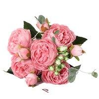 1 ramo 5 cabeza grande y 4 Bud flores baratas falsas para el hogar Decoración de la boda de Rose Rosa peonía de seda Artificial flores