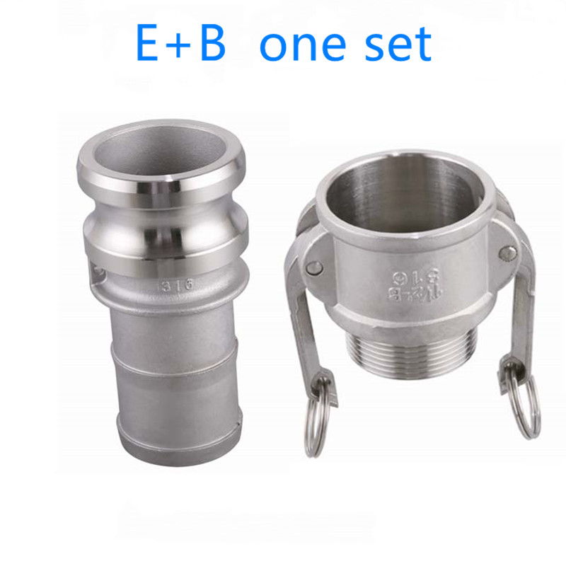 E+B one set of Camlock Fitting <font><b>Adapter</b></font> Homebrew 304 Stainless Steel Connector Quick Release Coupler <font><b>1/2</b></font>