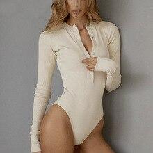 Lofia Winter Autumn Bodysuits Top Women Sexy Long Sleeve Bodysuits