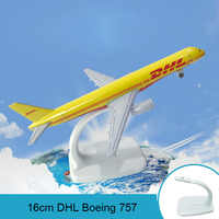 16cm DHL Boeing 757 Airplane Model DHL Cargo Express Airbus Airway Aircraft Model Static Simulation Alloy Metal Crafts Ornaments