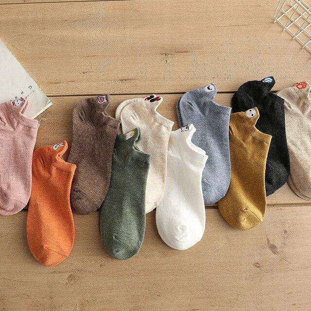 5 Pairs/lot 2021 Summer Cotton Cartoon Drew Socks Women Heel Bunny Carrot Cute Socks In Bulk Trend Ins Embroidery Women's Socks 5