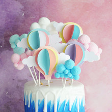 Hot Air Balloon Cake Topper Cloud Cake Flags Birthday Kids Favors Cake Decoration Cupcake Topper for Wedding Dessert Table Decor(China)