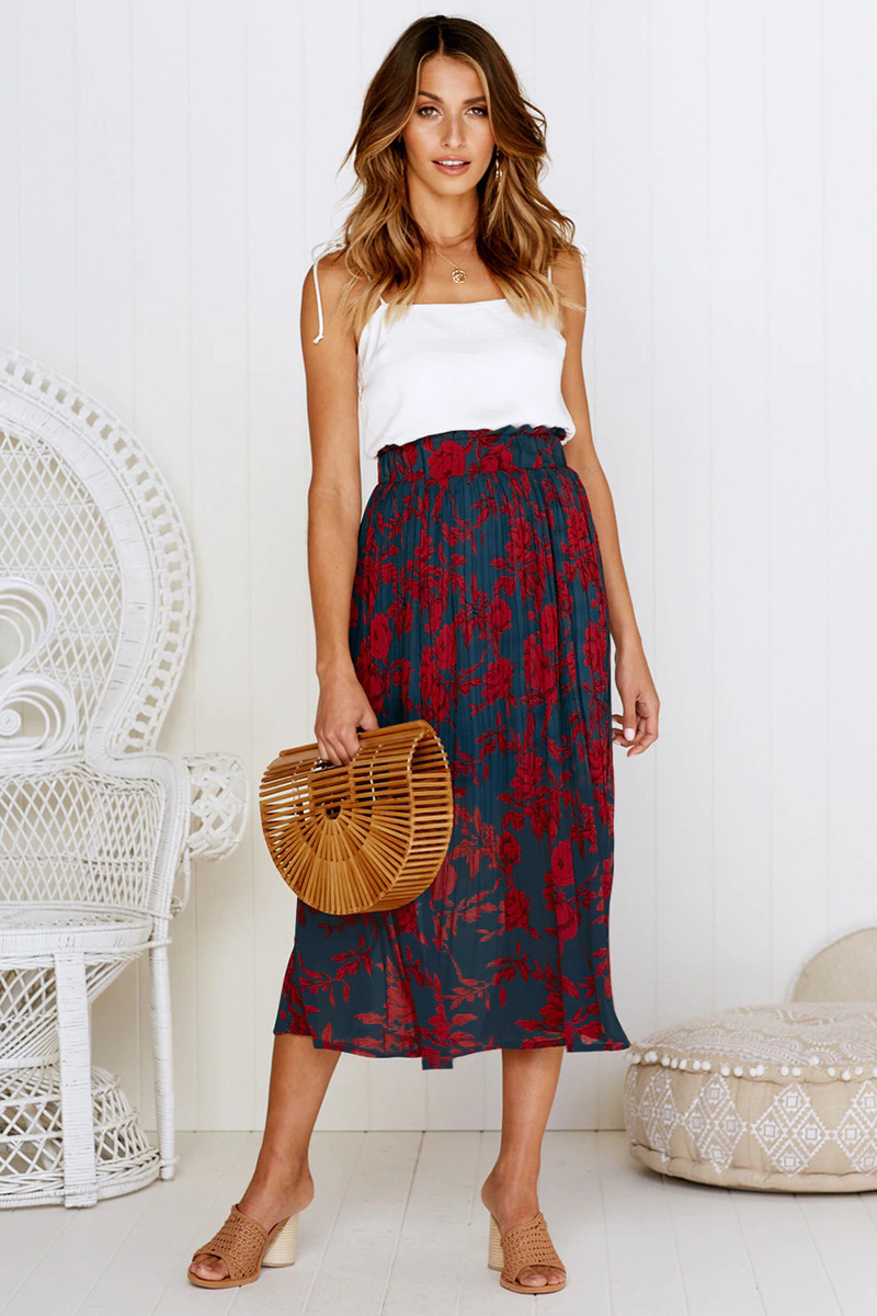 Ha73e9e4bacea4105b83814027d06d2d4Q - Summer Casual Chiffon Print Pockets High Waist Pleated Maxi Skirt Womens Long Skirts For Women