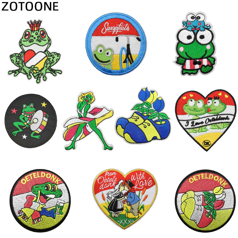 ZOTOONE oeteldonk Full Embroidered Frog Carnival For Netherland Iron On Patches for Clothing Embroidered Patches for Clothing  G