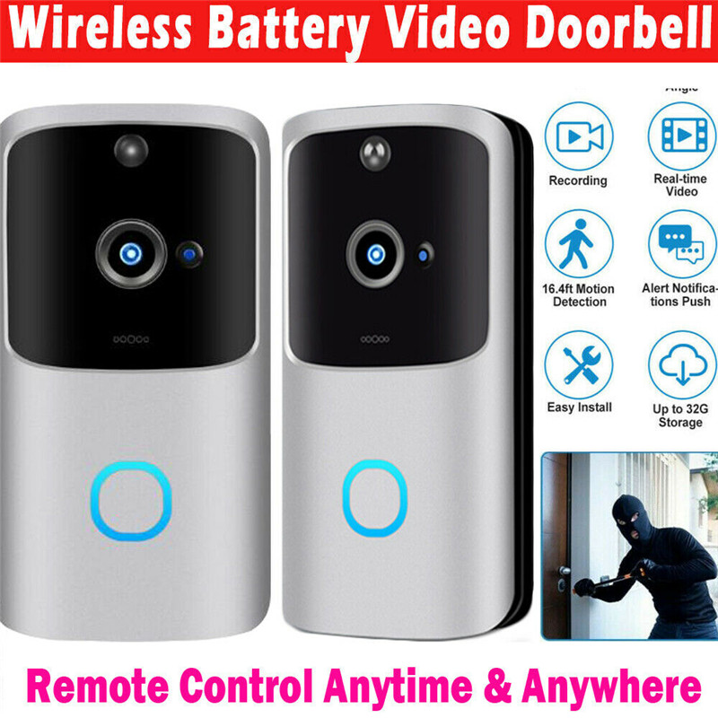 House Security & Protection WiFi Wireless Video Doorbell Two-Way Talk Smart Door Bell Security Camera HD ( Battery Not Included)
