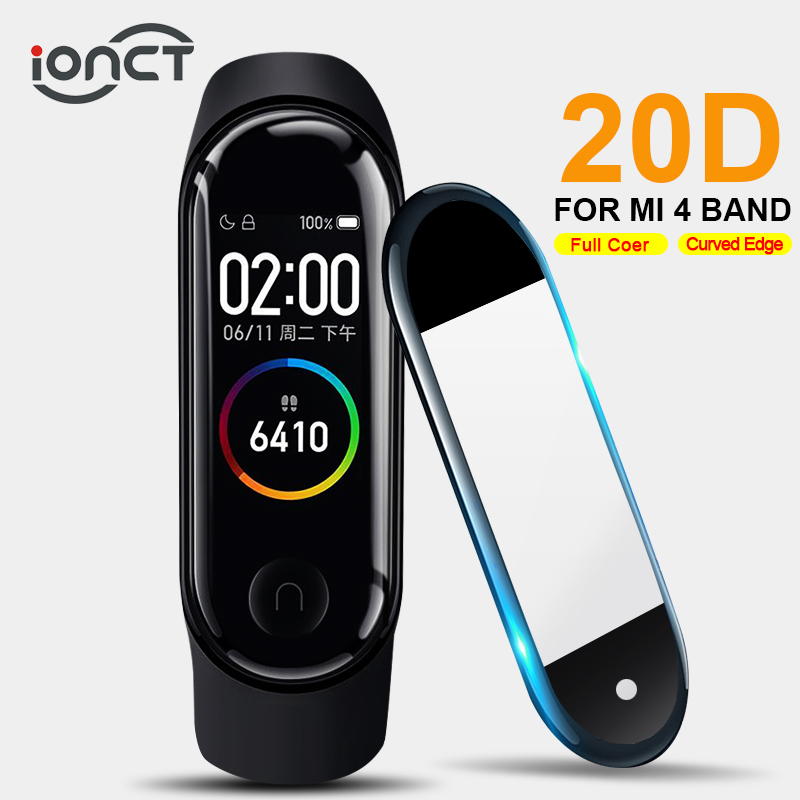 IONCT 20D Protective Glass For Xiaomi Mi Band 4 Glass Soft Curved Edge Miband 4 Film Full Cover HD Mi Band 4 Screen Protector