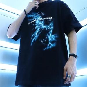 Image 4 - Футболка Хип хоп с Молниеносным черепом и луной, уличная футболка большого размера, свободные футболки в стиле хип хоп, летние хлопковые футболки с коротким рукавом 2020