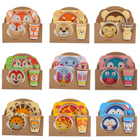 Bamboo fiber children's tableware set creative cartoon bowl tray. Spoon. Fork. Cup. Five sets of gift tableware
