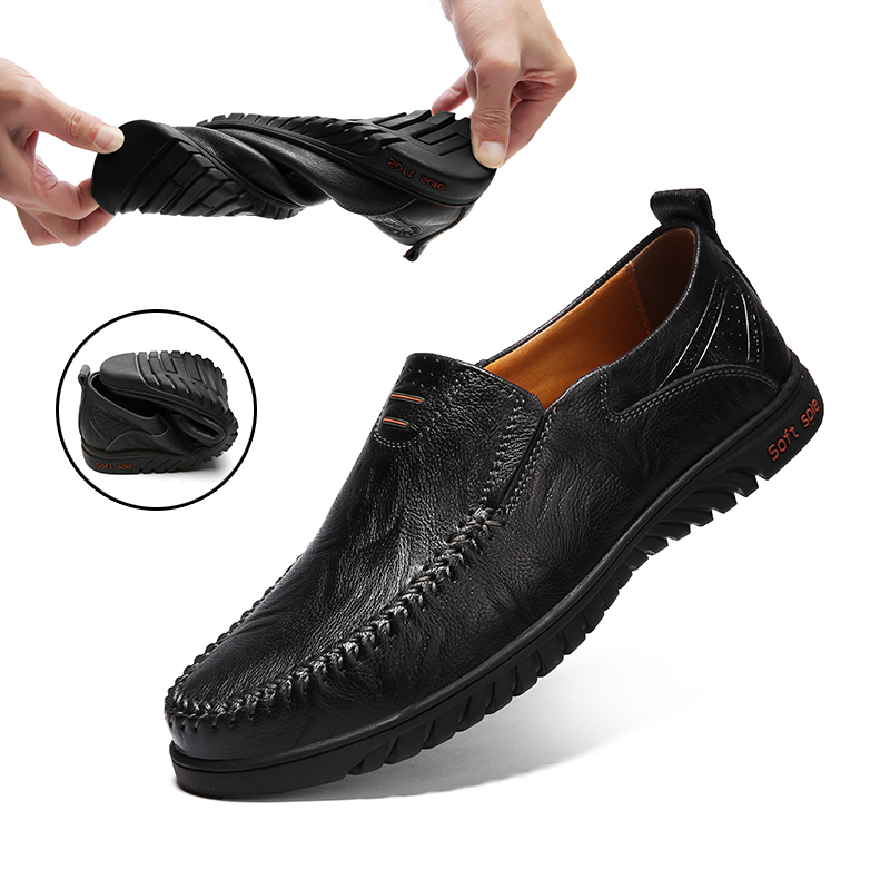 Men Casual Shoes Luxury Brand Genuine Leather Mens Loafers Moccasins 2020 Breathable Slip On Driving Shoes Black Plus Size 37-47
