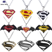цена Hot Movie Superman Batman Necklaces Avengers 3 Bat Logo Pendant Chkoer Superhero Spider Thor Iron Man Keyring Jewelry онлайн в 2017 году