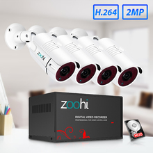 Zoohi HD 4CH 1080N AHD DVR Kit CCTV System 4pcs 720P/1080P waterproof/Metal bullet Camera 2MP P2P Security Surveillance Set