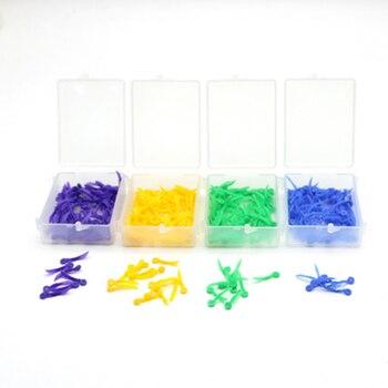 Cuñas dentales desechables 100 unids/caja de plástico médico de 4 colores con agujero Circular herramienta de cuidado de dentista