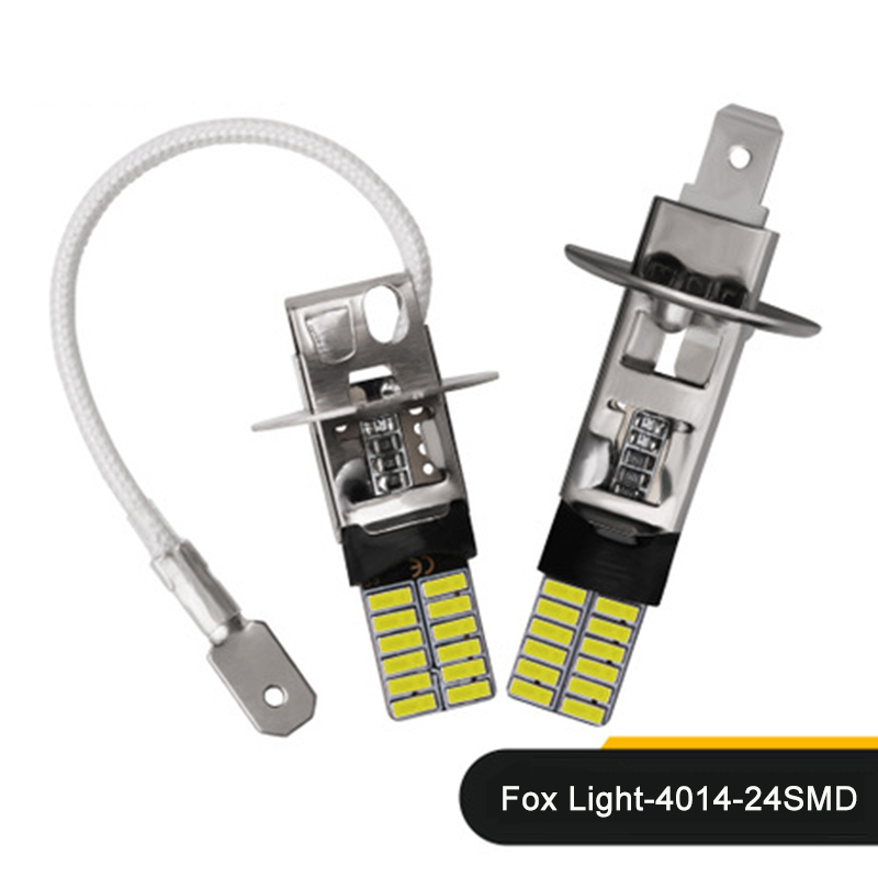 2pcs H1/H3 24 SMD 4014 Canbus No Error Car LED White Bulbs Fog Lights Brake Lights Reversing Lights