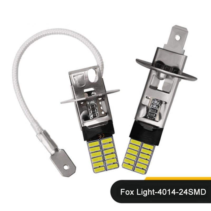 2pcs H1/H3 24 SMD 4014 Canbus No Error Car LED White Bulbs Fog Lights Brake Lights Reversing Lights