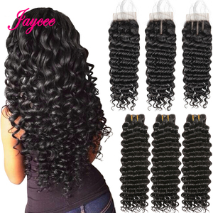 Brazilian Deep Wave Bundles With Closure Human Hair Bundles With Closure Brazillian Hair 3 Bundles With Closure Remy Human Hair(China)