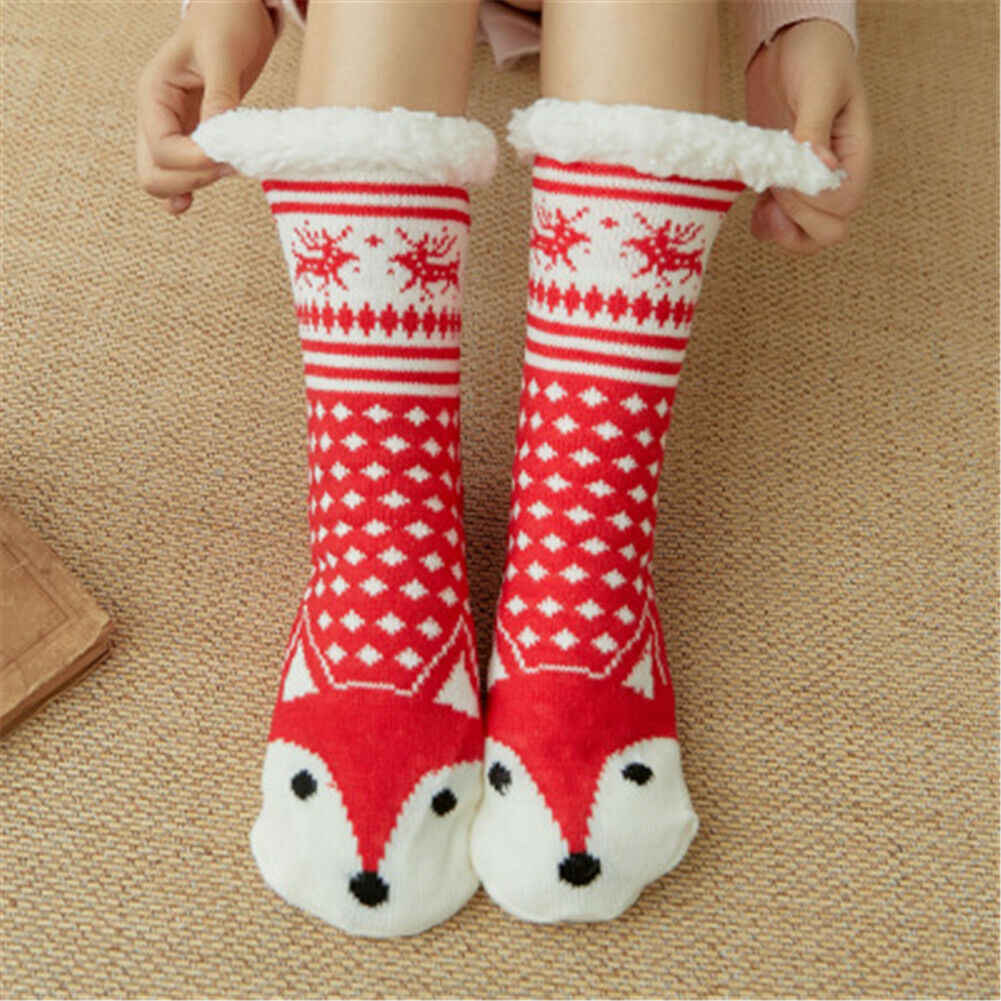Adult Wool Thicken Knit Sherpa Lined Thermal Fuzzy Slipper  Stockings Christmas  Stockings
