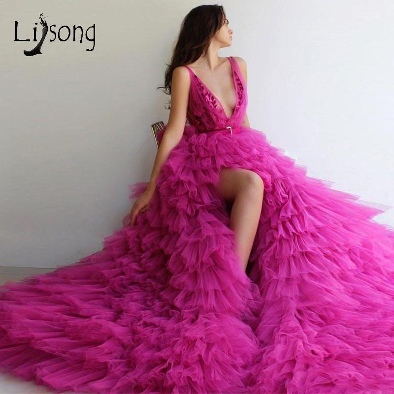 2019 Hot Pink Tiered Ruffles Tutu   Prom     Dresses   Sexy High Side Split Long Lace   Prom   Gowns Robe De Soiree Formal   Dresses