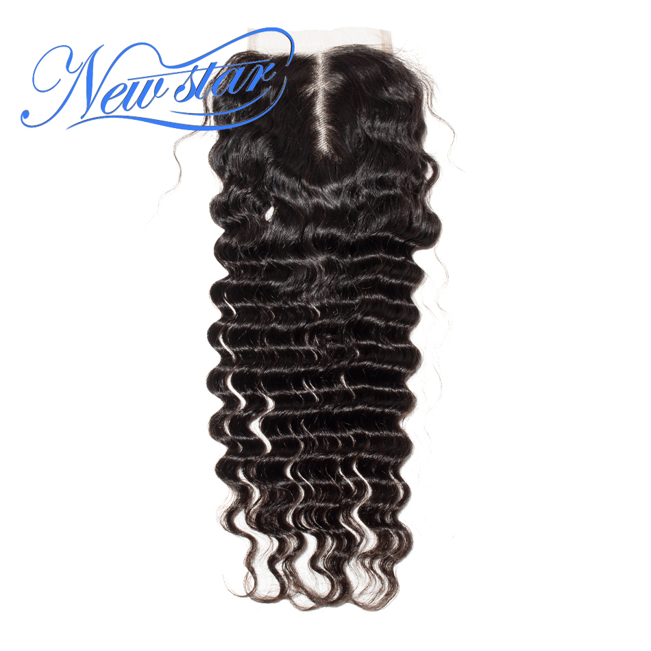 Closure Human-Hair Deep-Wave Middle-Part Virgin Natural-Color Lace Swiss Bleached Brazilian