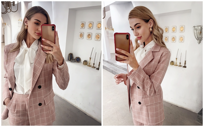 Ha73f5c65d26d427482b1b471cbd23b33j - Simplee Fashion plaid women blazer suits Long sleeve double breasted blazer pants set Pink office ladies two-piece blazer sets
