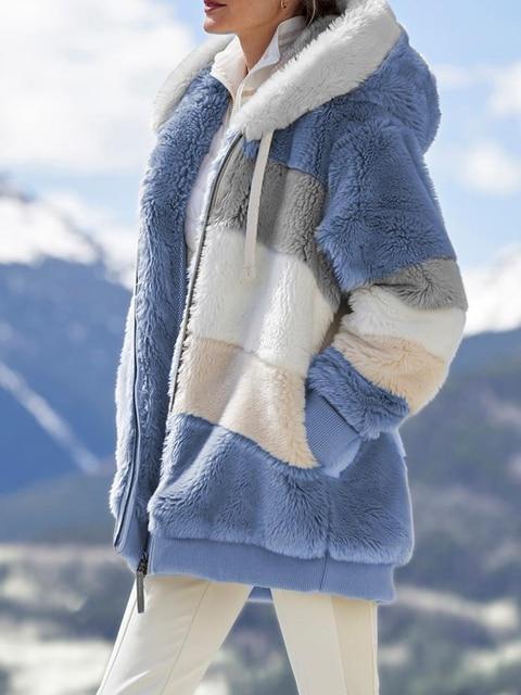 2020 Winter Women's Coat Fashion Casual Stitching Plaid Ladies Clothes Hooded Zipper Ladies Coat Lamb Hair women jacket 4