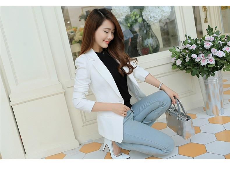 Fashion 2019 Plus Size Autumn Women One Button Slim Blazer Long Sleeve Turndown Neck Suit Notched Solid Work Wear