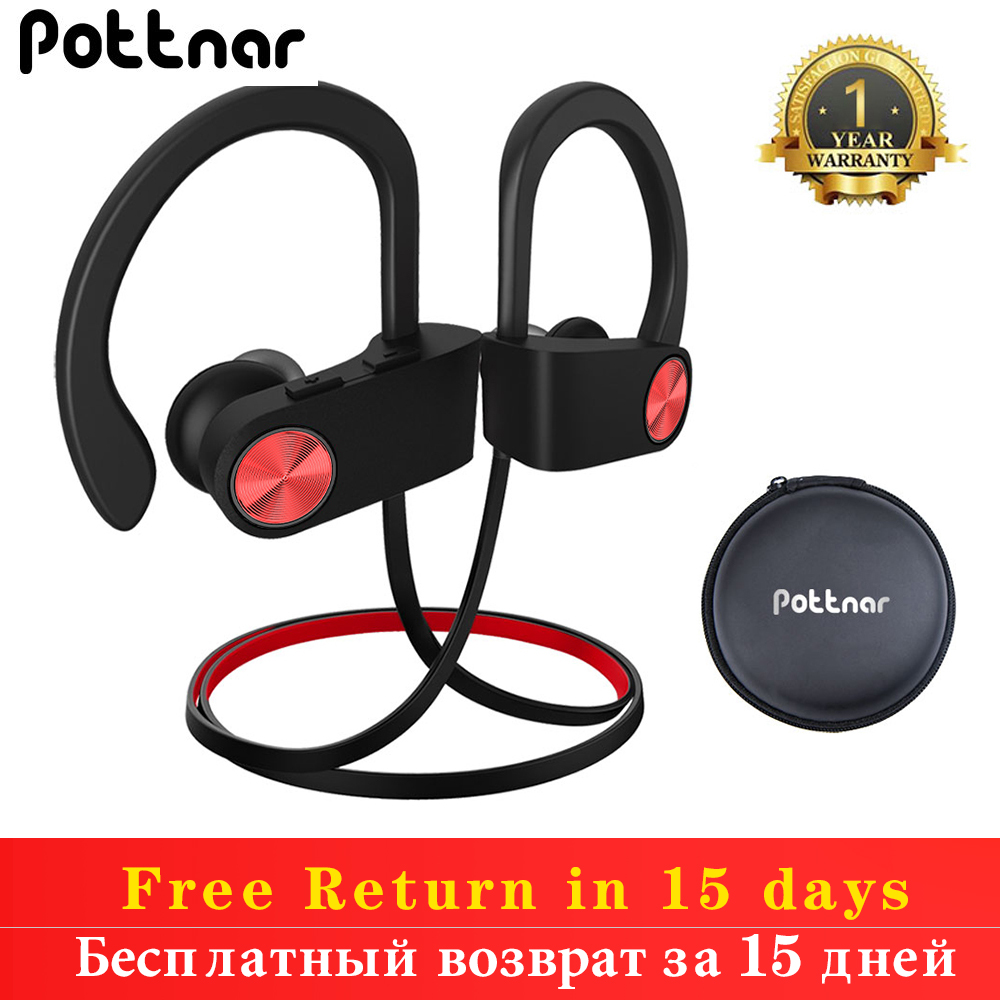 Pottnar New Sports Earhook Bluetooth Earphone Noise Canceling Headset Bass Wireless Headphones With Microphone for Phone Running