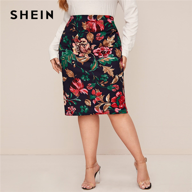 SHEIN Plus Size Multicolor Floral Print Pencil Skirts Womens Spring Autumn Office Ladies Elegant Midi Skirt