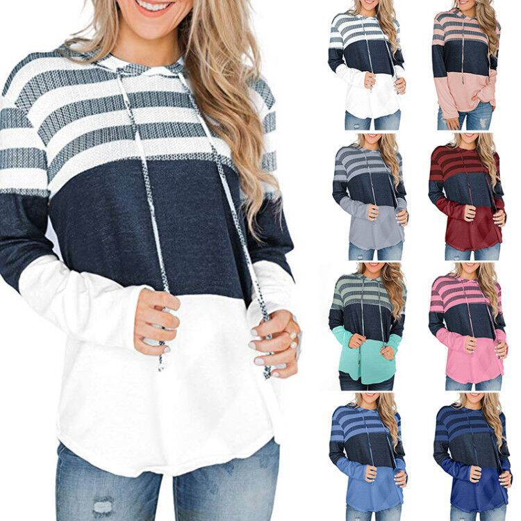 Autumn Ladies Sweater Women's Autumn New Shirt Loose Design Hoodie Sleeves Long Sleeve Contrast Color Sweater  Harajuku Hoodie