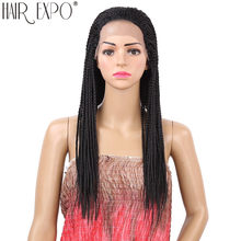 18inch-22inch Long Afro Hair Box Braided Synthetic Lace Front Wig 13X2 Lace Wigs For Black Women Hair Expo City(China)