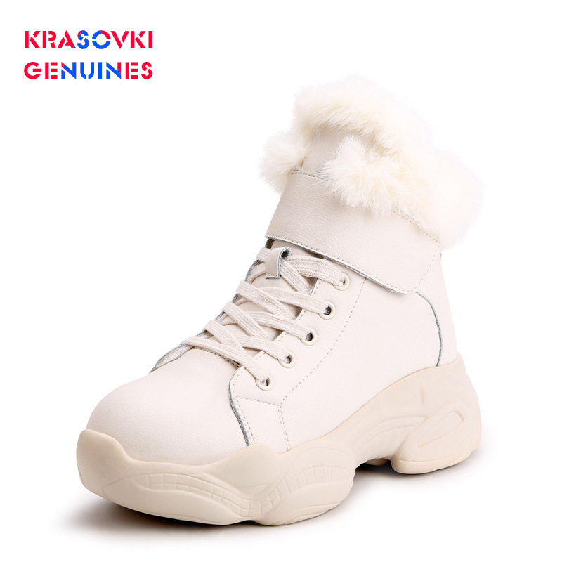 Krasovki Genuines Snow Boots Round Toe Winter Dropshipping Fashion Plush Lace Cow Leather Thick Bottom Solid Causal Women Boots in Women 39 s Vulcanize Shoes from Shoes