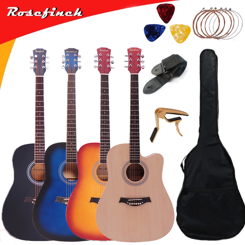 41 Inch Basswood Beginner Guitar Entry 6 String Ballad Wood Guitar Ukulele Acoustic Guitar With Wooden/Black/Blue/Sunset AGT123