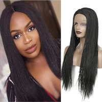 Long Twist Braids Synthetic Lace Front Wig Heat Resistant Fiber Hair Black Glueless Lace Wigs For Women With Baby Hair
