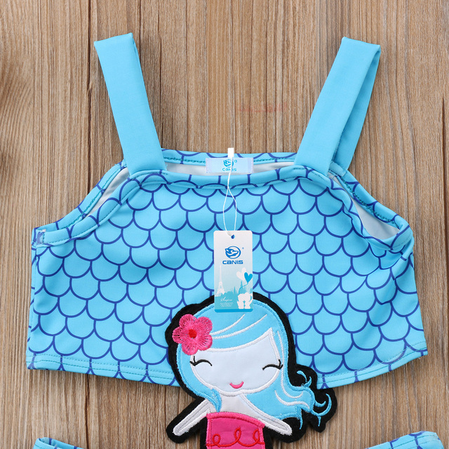 Summer Baby Girls Mermaid Bikini Swimsuit Fashion Kids Toddler Swimwear Beachwear One-piece Tankini Set