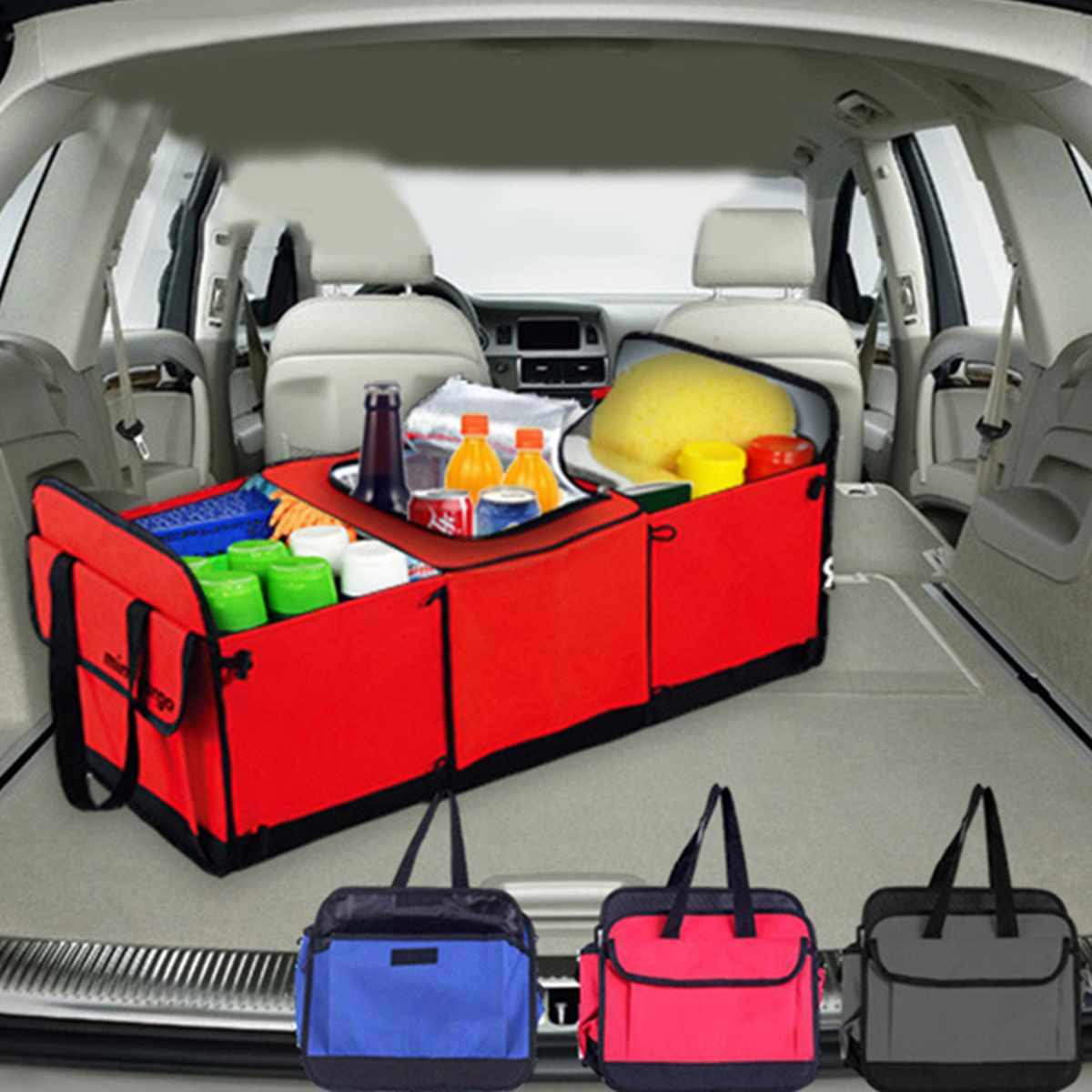 Super Capacity Car Hanging Bag with 7 Enlarged Pockets Car Boot Tidy Storage Bag 2 Long Magic Stick COOFULL Car Trunk Organizer Black