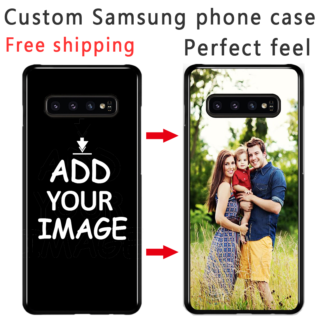 Custom Personalized Phone case Make your Photo images pattern Black Sotf TPU Cover Case for Samsung s8 s9 s10E plus S6 S7 Edge image