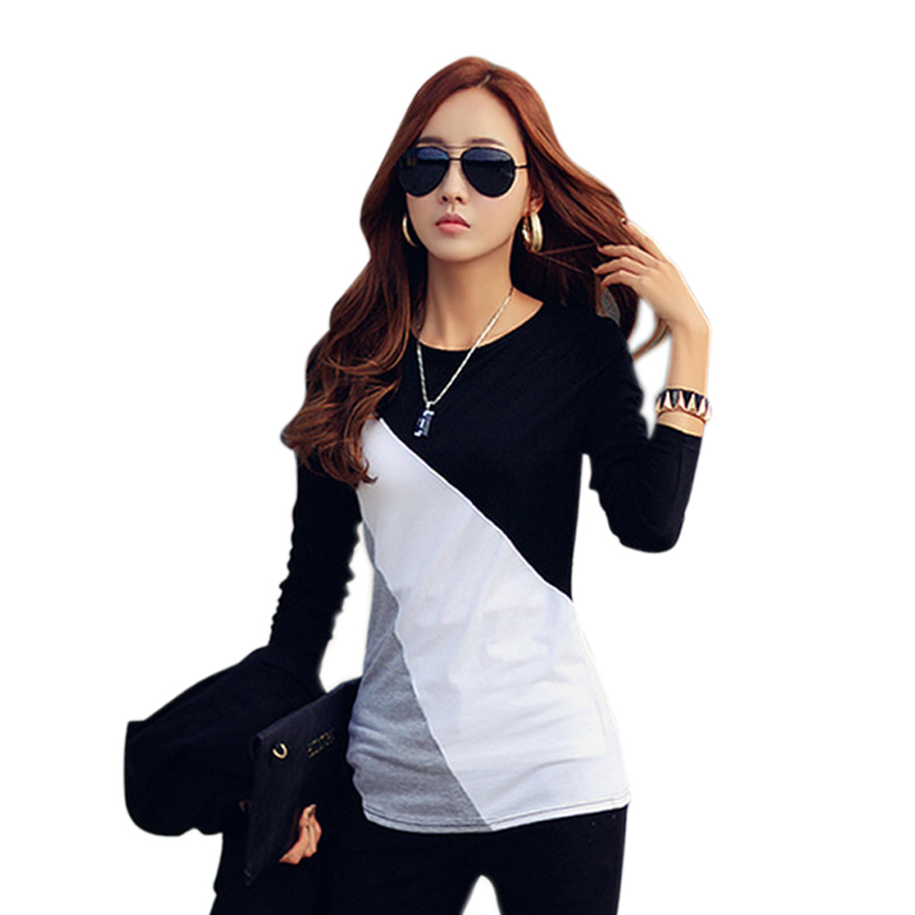 Women Autumn T-shirts Long Sleeves Slim Fit Round Neck Mixed Color Female Tops KNG88