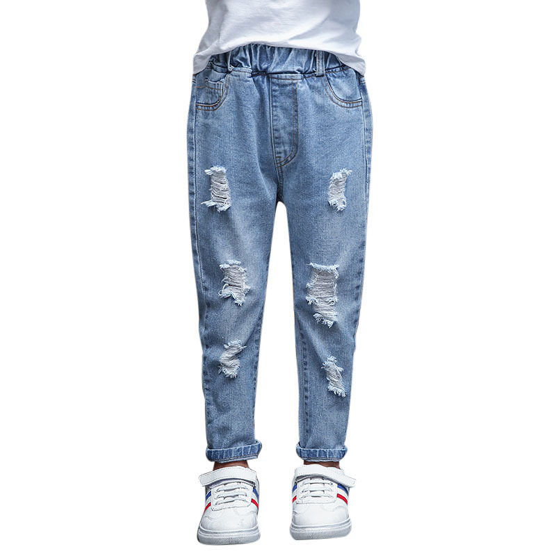 Children Ripped Hole Jeans Pants 2019 New Spring Kids Broken Denim Trousers for Baby Girl 4-12T Casual Girls