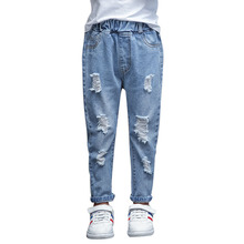 Children Ripped Hole Jeans Pants 2019 New Spring Kids Broken Denim Trousers for Baby Girl 4-12T Casual Pants Girls Jeans studded broken hole jeans