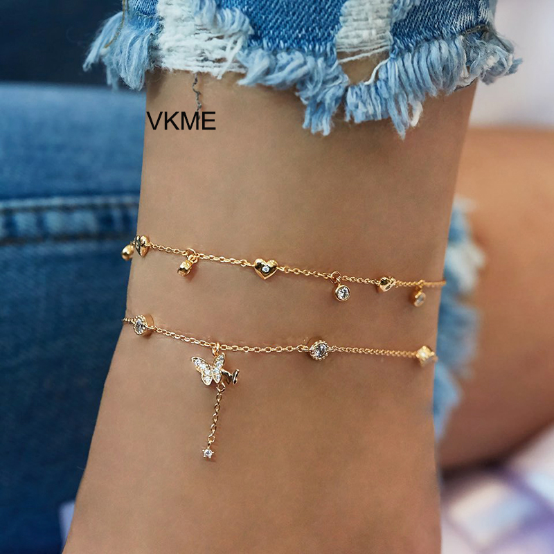 VKME 2 chain Crystal Butterfly Pendant Anklet NEW Foot Bracelet on Leg Beach Women Anklet Jewelry
