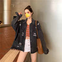 Women's Hole Demin Jacket 2019 Spring Autumn Korean Casual Loose Jacket Fashion Long Sleeve Vintage Female Harajuku Clothes