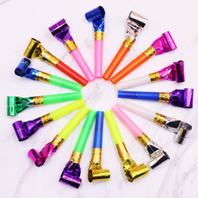 30PC / Pack children's party roll paper outbreak whistle party like kids birthday party funny props noise maker toy party gift outbreak
